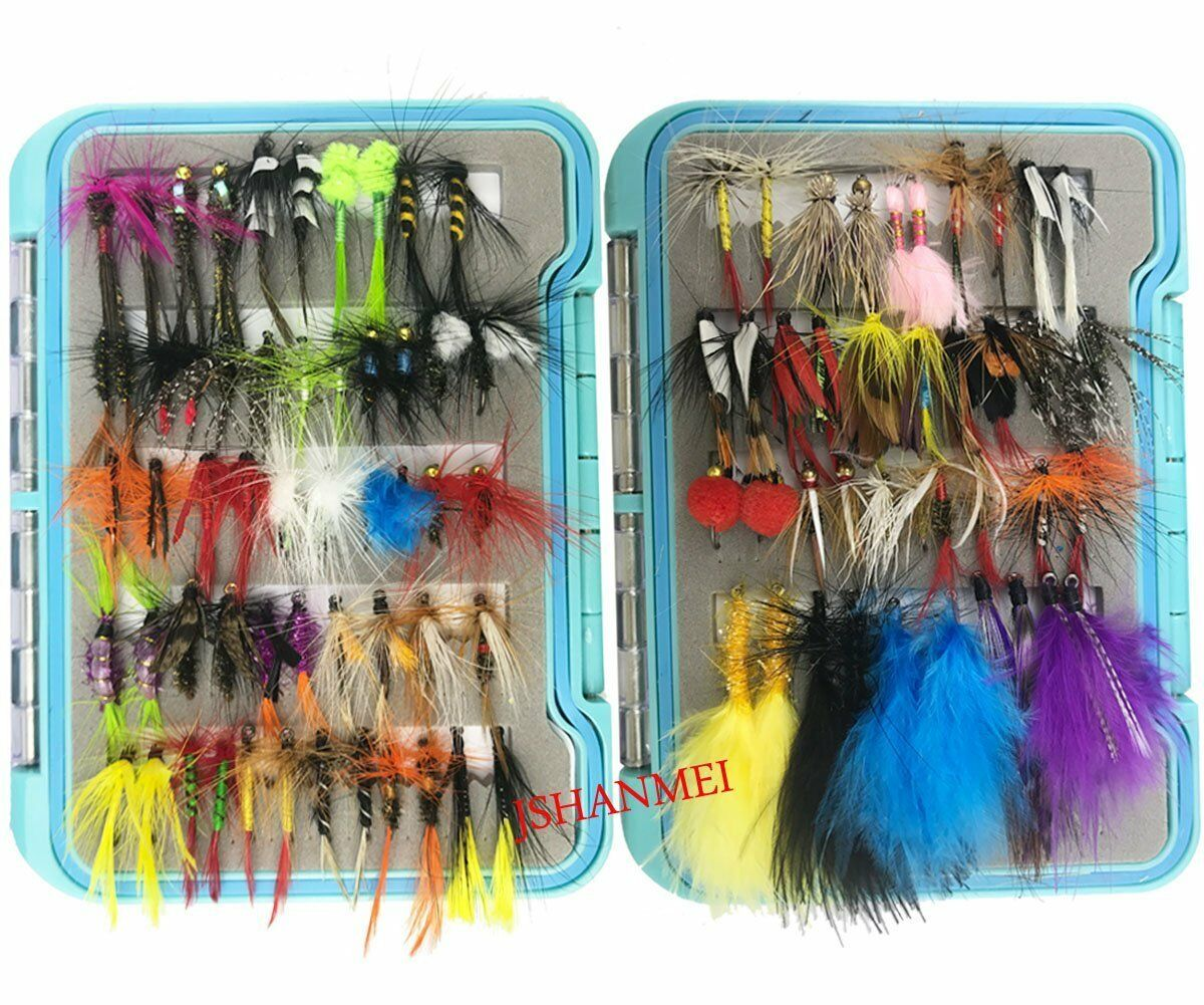 Fly Fishing Flies Lures Set 94pc Dry Fly Wet Fly Lure for Trout Bass Salmon Fish