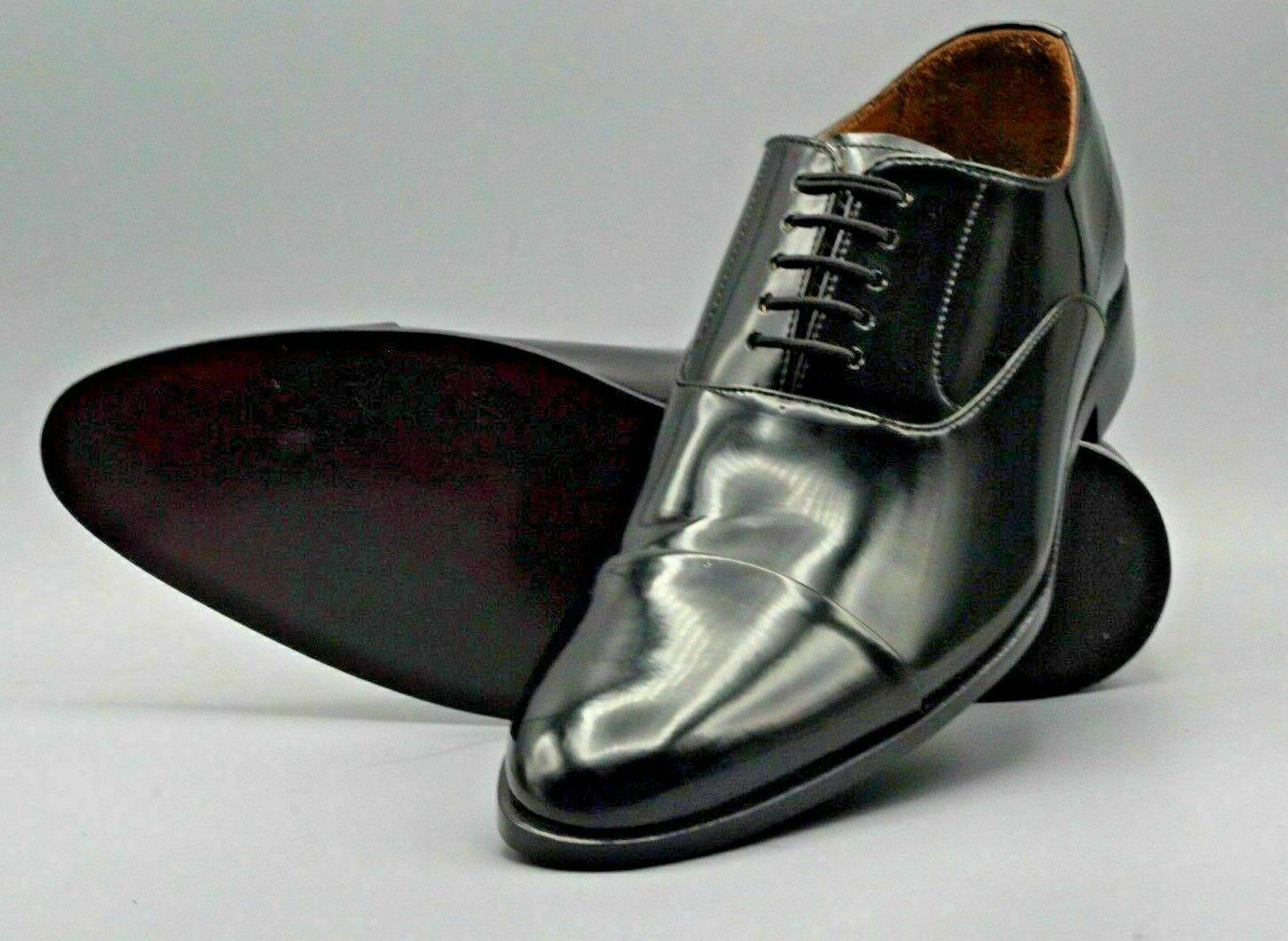 Homme Fait à la main Bottes Véritable Noir Cuir verni Lacer Formel Bout Mariage Chaussures