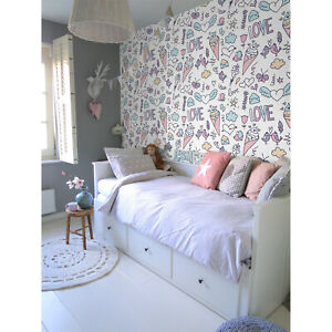 Details about Removable Wallpaper Girly Ice Cream Love Heart Nursery wall  murals Clouds Birds