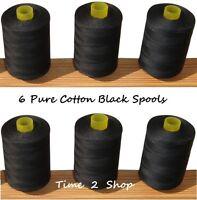 6 x Pure 100% Cotton Sewing Machine Thread 800M Large Black Spools / Reels