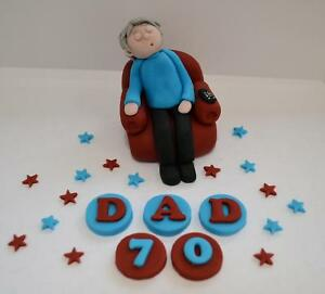 Marvelous Handmade Edible Sleeping Man Dad Birthday Cake Topper 60Th 70Th Funny Birthday Cards Online Fluifree Goldxyz