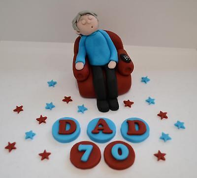 Amazing Handmade Edible Sleeping Man Dad Birthday Cake Topper 60Th 70Th Funny Birthday Cards Online Bapapcheapnameinfo