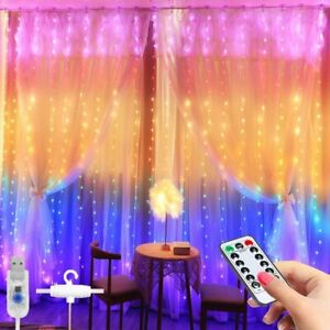 Window Curtain String Light -3x2.8m 280 LED 8 Modes Fairy Lights with Hook Remot