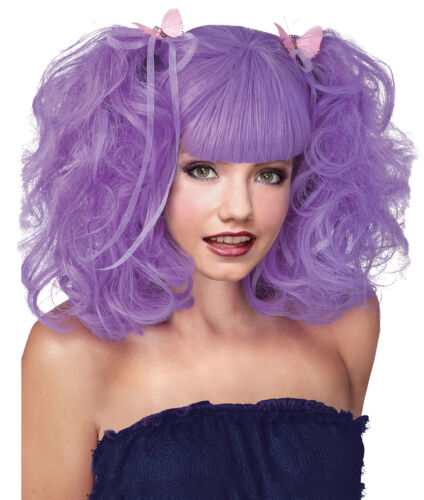 Lavender Pixie Happy Fun Colored Wig With Full Puffy Pigtails /& Long Bangs
