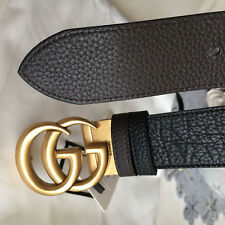 f811bb640 Auth Gucci Reversible Belt BLACK BROWN GG Gold Buckle size 80 / 32 fits 26-