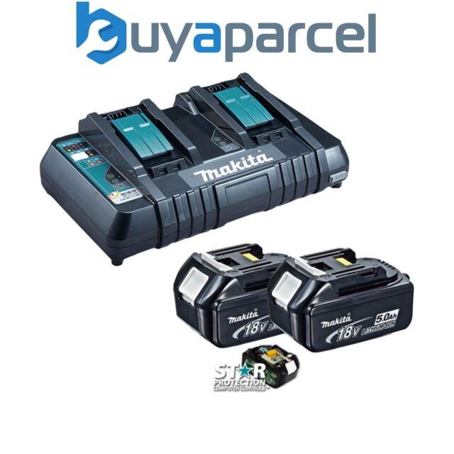 Makita BL1850 18v 2 X LXT 5.0ah Ah Lithium-Ion Batteries + DC18RD Double Port