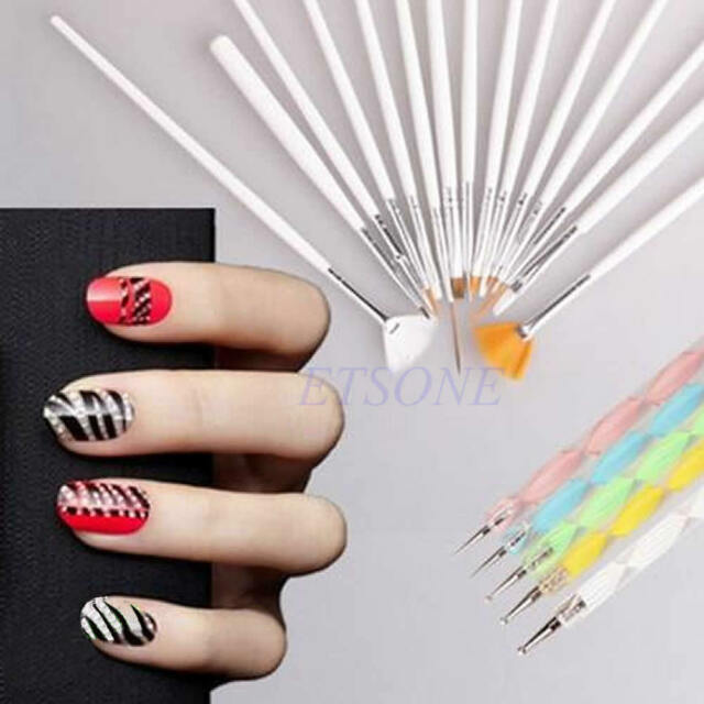 Dotting Painting Drawing Polish Pen Tools Set Nail Art Design Brushes Kit 20pcs
