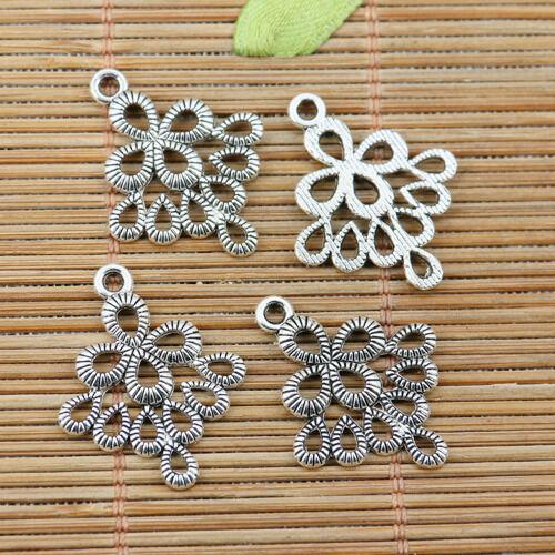 18pcs tibetan silver tone hollow texture peakcock design charms EF2199