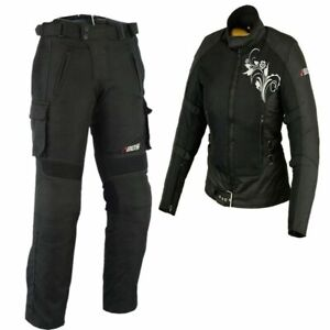 Sommer-Motorrad-Kombi-Damen-Jacke-amp-Hose-Schwarz-Damen-Motorrad-Roller-Jacke