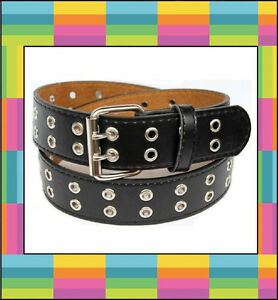 Two-2-Double-Row-Leather-Belt-with-Silver-Grommet-Holes-amp-Buckle-Black-Brown