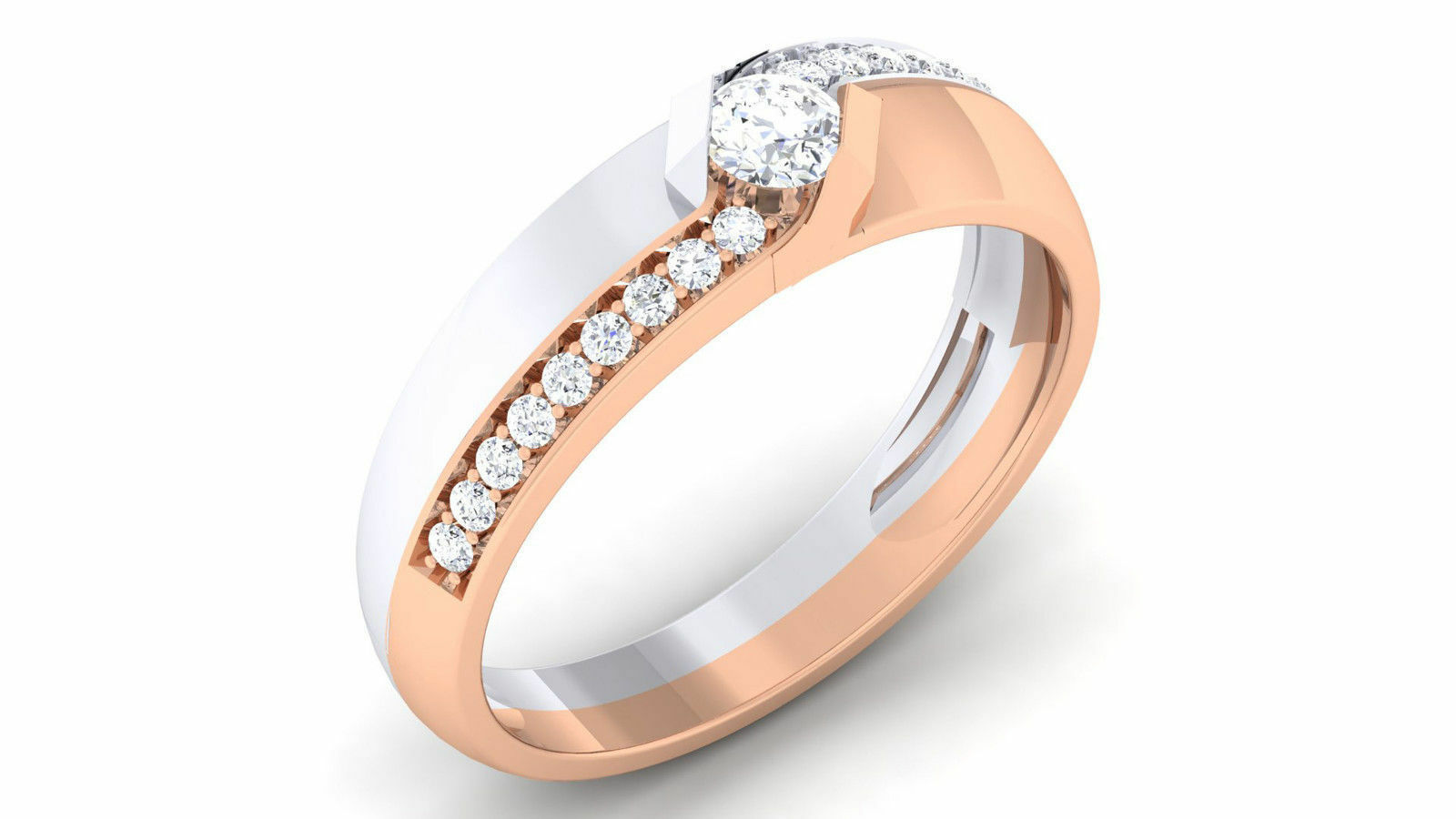 Pave 0.45 Cts Natural Diamonds Unisex Solitaire Ring In Solid Certified 18K gold