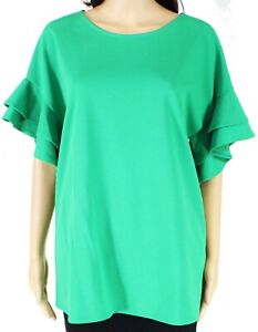 First-Love-Womens-Top-Green-Size-Large-L-Ruffle-Tiered-Sleeve-Blouse-38-264