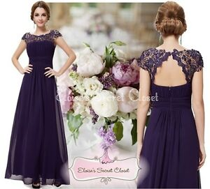 KATIE Aubergine Purple Lace Full Length Evening Cruise Ballgown Dress UK 8
