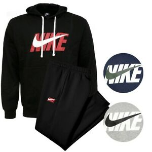 Nike Men's Pullover Fleece Hoodie and Sweatpants Complete 2 PC Jogger Sweatsuit
