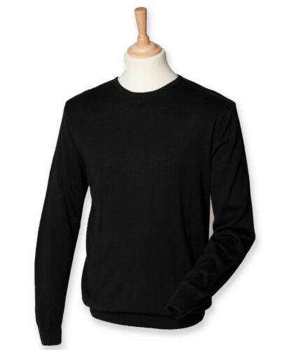 Henbury SIZES SMALL-4XL Mens Lightweight Cotton Acrylic Crew Neck Sweater