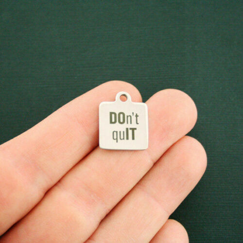 Don/'t Quit Do It BFS2067 Fitness Motivational Stainless Steel Charm