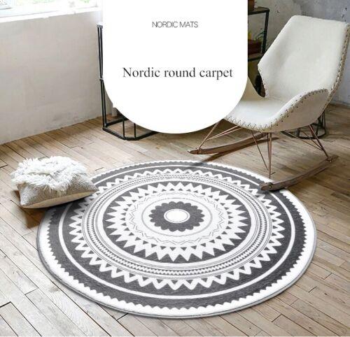 Gris Nordic THEME Non-slip Luxe Géométrique Tapis Rond//Tapis