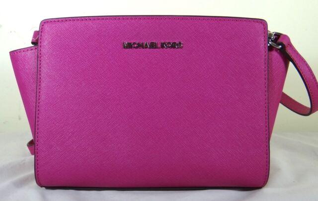 815c4fc70cad Michael Michael Kors Selma Medium Deep Pink Saffiano Leather Messenger Bag