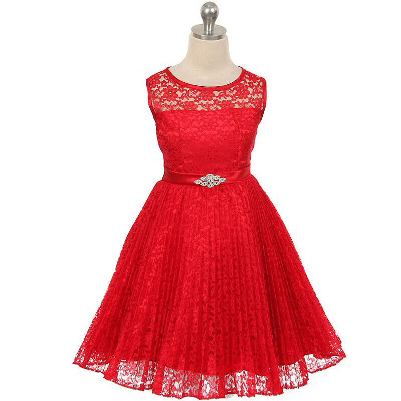 RED 8 Floral Lace Girl Dress Birthday Wedding Dance Bridesmaid Recital Party