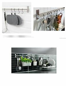 Image Is Loading WALL MOUNTED KITCHEN TOWEL UTENSIL RAIL STAINLESS STEEL