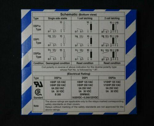 Matsushita Panasonic DSP1-DC24V Power Relay 6-Pin DSP Relay DSP1-24 Box of 50