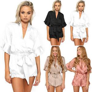 7ff66267a9 Women Satin V Neck Kimono Playsuit Tunic Beach Jumpsuit Shorts ...