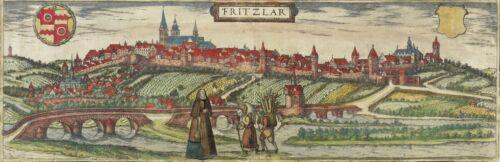 FRITZLAR - GESAMTANSICHT - Braun-Hogenberg - kolorierter Kupferstich 1588