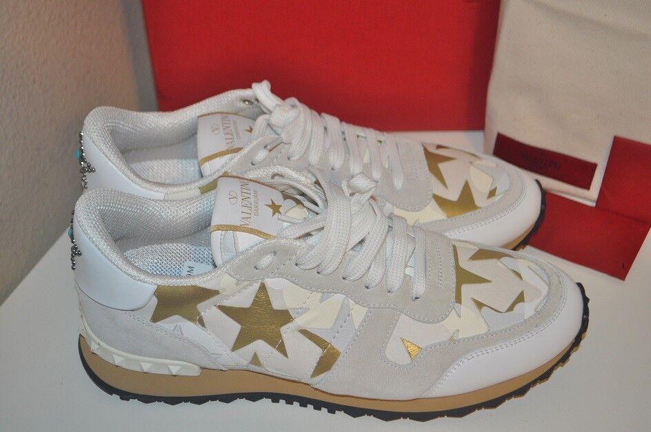 NIB   975 VALENTINO Starborosso Runner scarpe da ginnastica scarpe donna Trainers bianca oro 40  al prezzo più basso