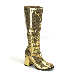 Bordello-3-034-Block-Heel-Burlesque-Gold-Sequin-Knee-High-Boots-Glam-12-13-14-15-16