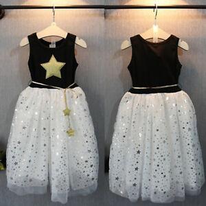 Girls-Cotton-Star-Dress-Children-Kids-Party-Tutu-Dresses-Princess-Summer-Holiday