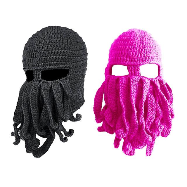 ab2087c27 2x Men Women Octopus Knitted Crochet Ski Face Mask Knit Hat Squid Cap Beanie