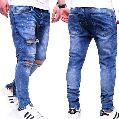 BEHYPE Jeans Herren Destroyed Röhrenjeans Chino Hose Risse Knie Blau NEU