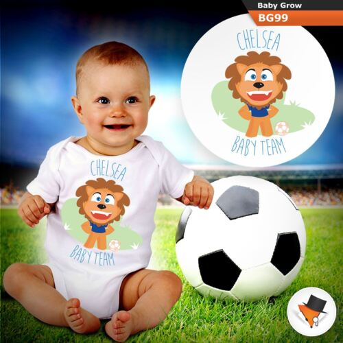 CHELSEA BABY TEAM FOOTBALL FAN BABYGROW baby GROW ALL SIZES 0-24 months