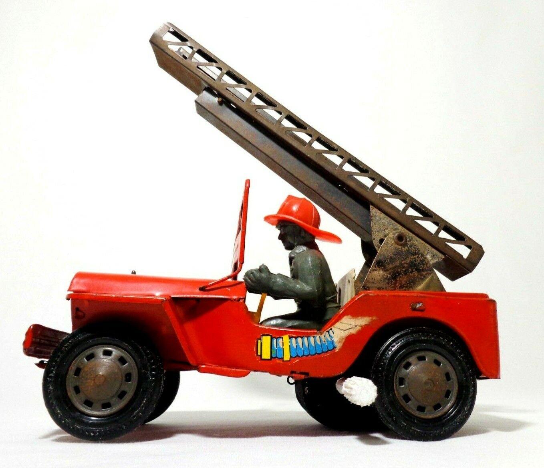 TN NOMURA Japon vint  Litho serait Tin Frict WILLY'S POMPIERS militaire jouet jeep avec conducteur  magasin d'usine de sortie