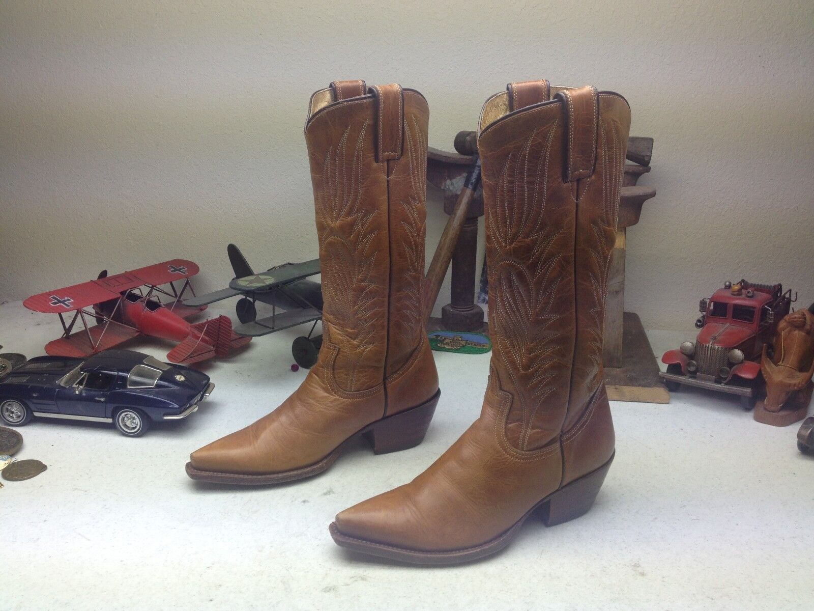 DISTRESSED STEVE MADDEN BROWN LEATHER WESTERN DANCE POINTY POINTY POINTY COWBOY BOOTS 10.5 D eaa5bb