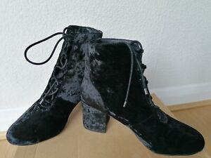 Women Asos Block  Heel Black Velvet  Ankle Boots / Shoes New Size UK 6