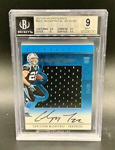 2017-PANINI-PREFERRED-CHRISTIAN-McCAFFREY-ROOKIE-AUTO-JERSEY-CARD-99