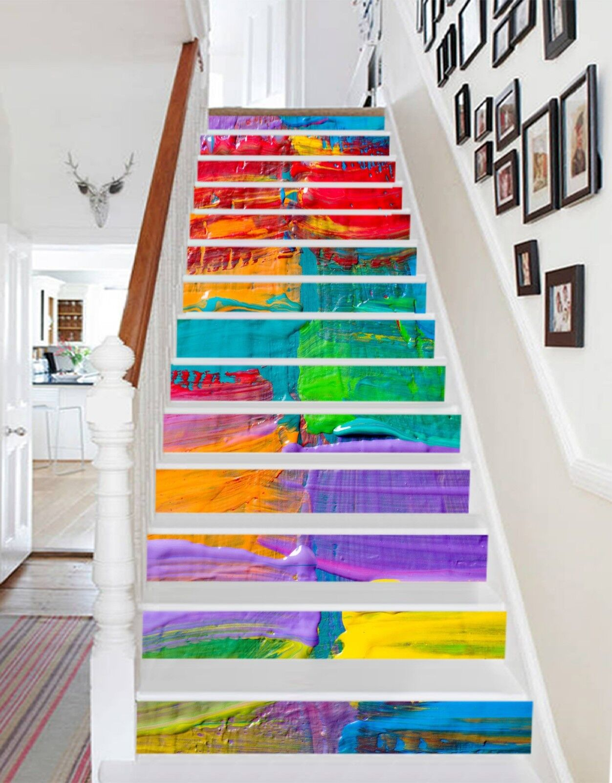 3D colord Paint Stair Risers Decoration Photo Mural Vinyl Decal Wallpaper UK