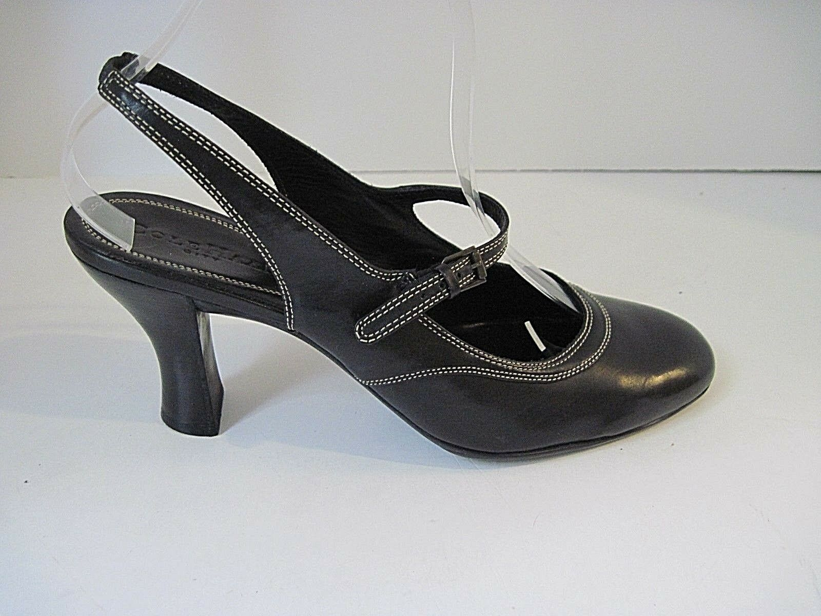 COLE HAAN BLACK LEATHER WEISS STITCHING MARY JANE HEELS PUMPS SIZE 8 1/2 B