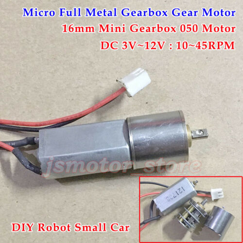 DC 3V~12V 45RPM Slow Speed Mini 16mm Full Metal Gearbox Gear Motor DIY Robot Car