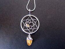 CITRINE Point Dreamcatcher Drop Pendant Necklace B01.02 SP Snake Chain 22 inch