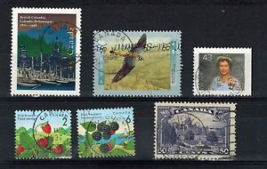 CANADA-NICE-GROUP-OF-SIX-STAMPS-USED-WITH-CDS-CANCELS
