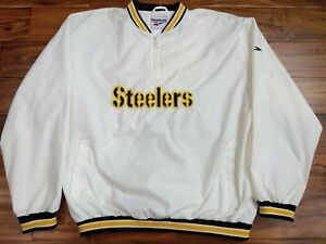 8433a5bb7ac Image is loading Vintage-Reebok-Mens-Pittsburgh-Steelers-White -Pullover-Wind-