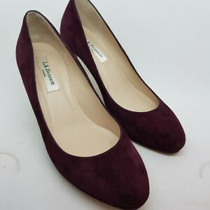 L-K-Bennett-Court-Shoes-Burgundy-Suede-3-034-heel-UK-4-EU-36-VGC