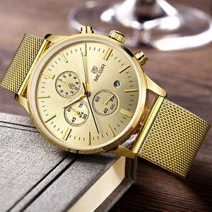 montre luxe classique top marque homme date chronograph etanche men watch ebay. Black Bedroom Furniture Sets. Home Design Ideas