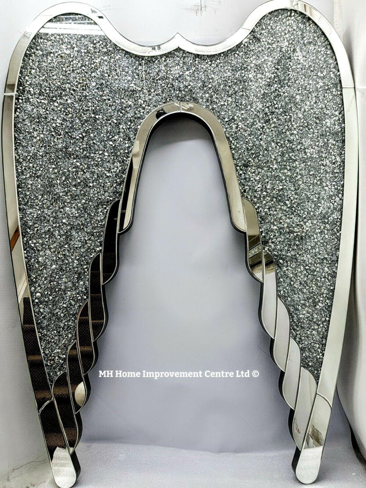 Diamant Zerdrücken Kristall Engel Flügel Glitzer Abgeschrägt Silber Spiegel Wand