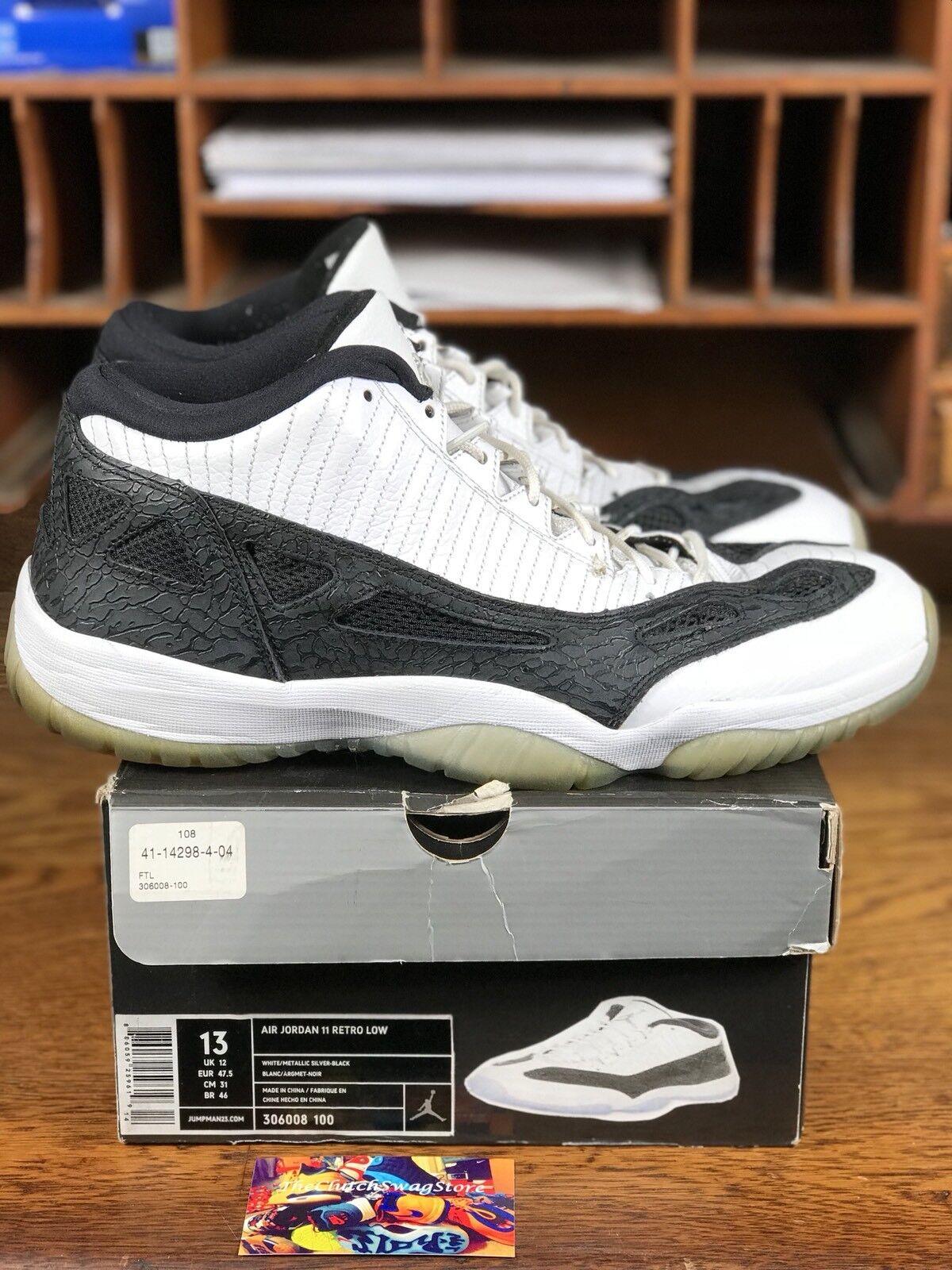 2011 Nike Air Jordan 11 XI Retro Low White/Black (306008-100) Mens Size 13