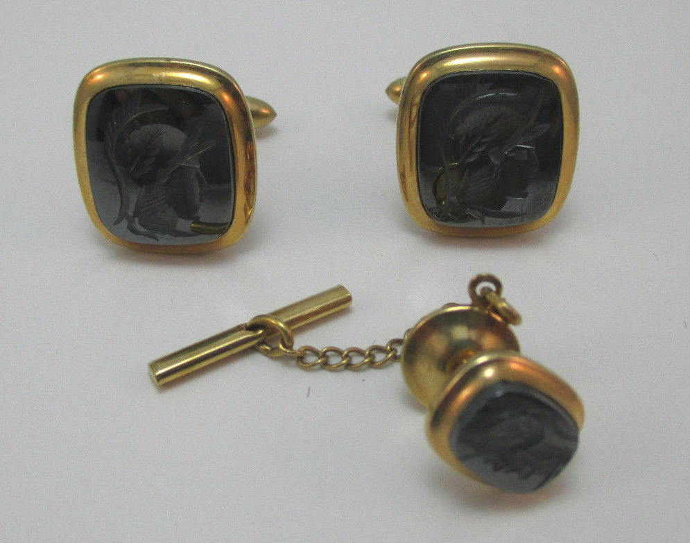 Y Monogram Victorian Chased Gold Filled Cuff Links