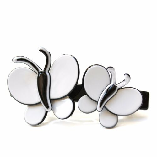 BlackDual White Butterfly Accent Moliabal Milano Large Barrette