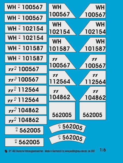 Peddinghaus 1 6 1482 German Vehicle Registration Number
